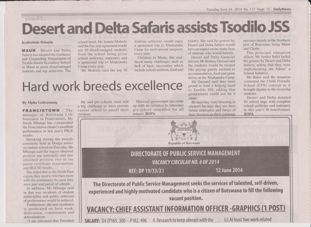 Tsodilo Daily News Tuesday 24th June 2014