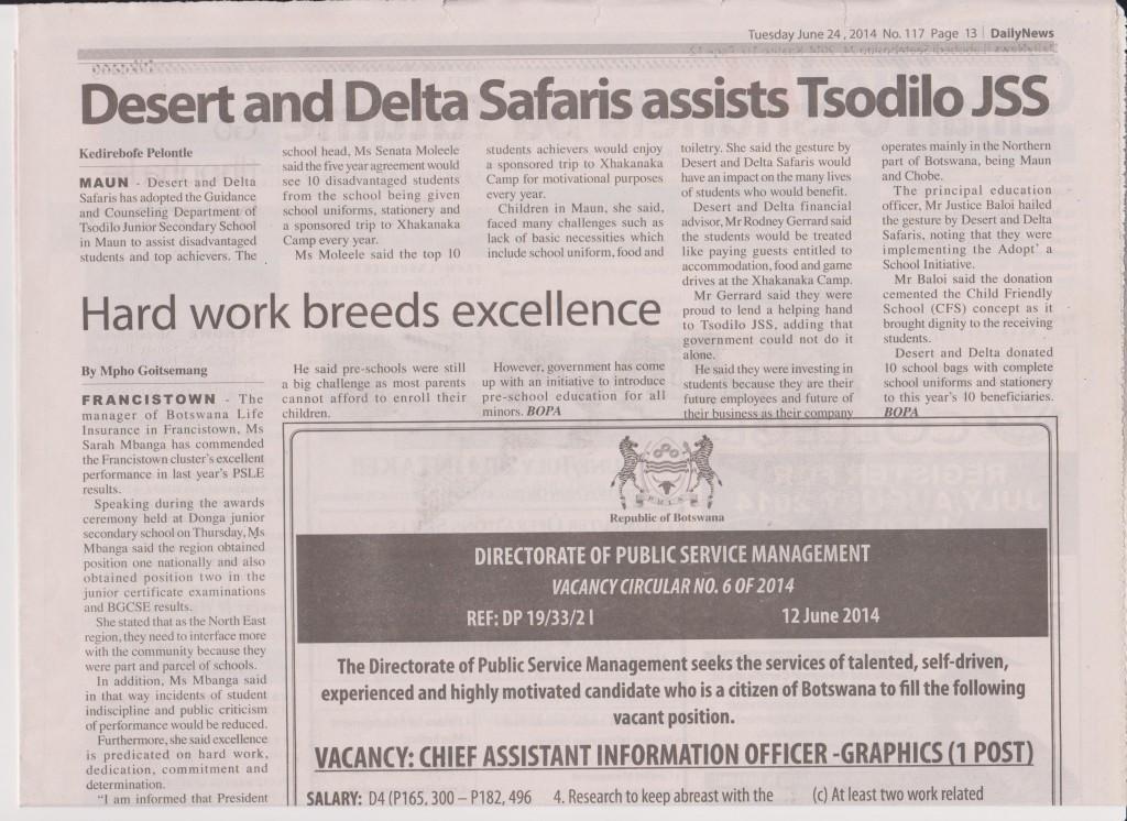 Tsodilo Daily News Tuesday 24th June 2014
